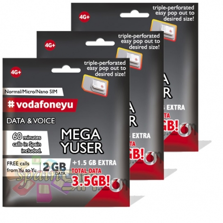 DUAL SET Vodafone YUSER Spain SIM Cards