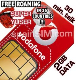 Vodafone SUPER YUSER Spain & Europe SIM Card