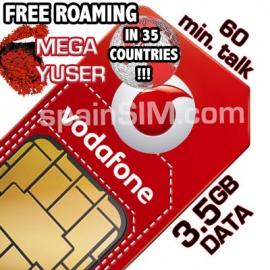 Vodafone MEGA YUSER Spain & Europe SIM Card