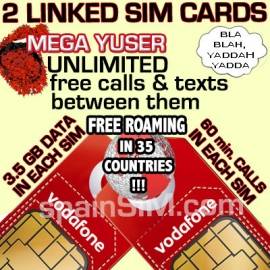 DUAL SET Vodafone MEGA YUSER Spain & Europe SIM Cards