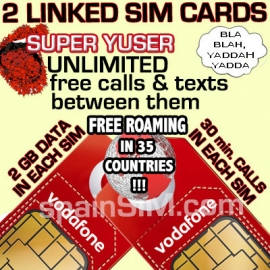DUAL SET Vodafone SUPER YUSER Spain & Europe SIM Cards