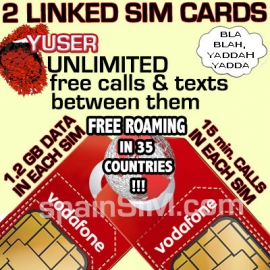 DUAL SET Vodafone YUSER Spain & Europe SIM Cards
